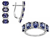 Blue And White Cubic Zirconia Rhodium Over Silver Earrings And Ring Set 7.75ctw