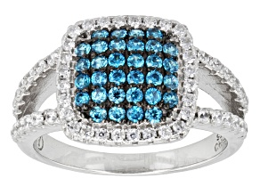Blue And White Cubic Zirconia Sterling Silver Ring 1.76ctw
