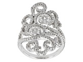 Cubic Zirconia Rhodium Over Silver Ring 2.15ctw