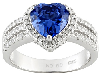 Picture of Blue And White Cubic Zirconia Rhodium Over Sterling Silver Heart Ring 3.50ctw