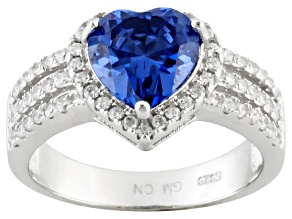 Blue And White Cubic Zirconia Sterling Silver Heart Ring 3.50ctw