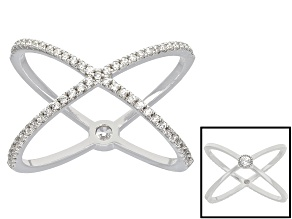 Cubic Zirconia Rhodium Over Sterling Silver Ring .60ctw
