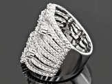 Cubic Zirconia Rhodium Over Sterling Silver Ring 3.27ctw