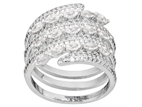 Cubic Zirconia Rhodium Over Sterling Silver Ring 3.20ctw