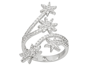 Cubic Zirconia Rhodium Over Sterling Silver Ring 1.10ctw