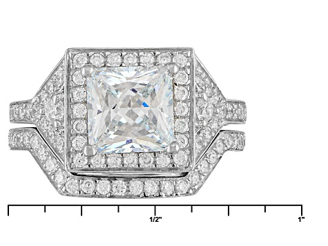 Cubic Zirconia Rhodium Over Sterling Silver Ring With Band 4.20ctw