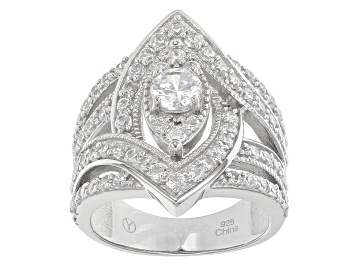 Picture of White Cubic Zirconia Rhodium Over Sterling Silver Ring 4.00ctw