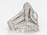 White Cubic Zirconia Rhodium Over Sterling Silver Ring 4.00ctw