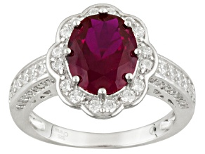 Red And White Cubic Zirconia Rhodium Over Sterling Silver Ring 4.15ctw