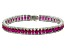 Red And White Cubic Zirconia Rhodium Over Sterling Silver Bracelet 24.25ctw