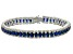 Blue And White Cubic Zirconia Rhodium Over Sterling Silver Bracelet 24.25ctw