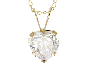 Cubic Zirconia 10k Yellow Gold Pendant With Chain 1.25ctw