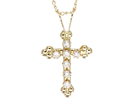 Cubic Zirconia 10k Yellow Gold Cross Pendant With Chain .16ctw.