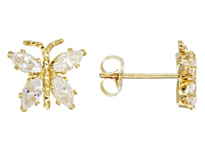 Cubic Zirconia 10k Yellow Gold Earrings 1.20ctw