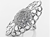 Cubic Zirconia Rhodium Over Sterling Silver Ring 1.35ctw