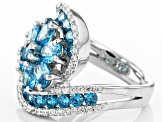 Blue And White Cubic Zirconia Rhodium Over Sterling Silver Ring 5.85ctw