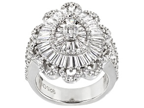 Cubic Zirconia Rhodium Over Sterling Silver Ring 5.25ctw