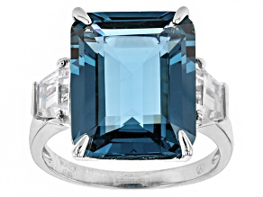 Lab Blue Spinel And White Cubic Zirconia Rhodium Over Sterling Silver Ring 14.50ctw