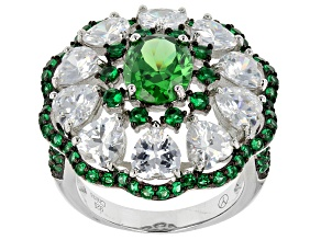 Green And White Cubic Zirconia Rhodium Over Silver Ring 11.06ctw