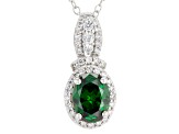Green And White Cubic Zirconia Rhodium Over Silver Jewelry Set 7.30ctw