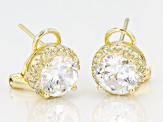 White Cubic Zirconia 18k Yellow Gold Over Silver Earrings 7.40ctw