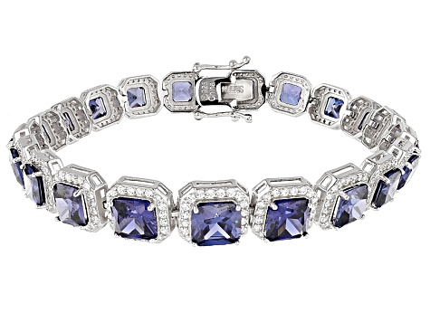 Blue And White Cubic Zirconia Rhodium Over Silver Bracelet 36.00ctw