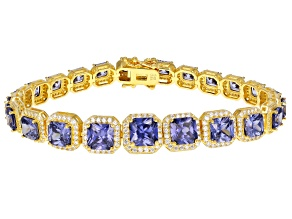 Blue And White Cubic Zirconia 18K Yellow Gold Over Silver Bracelet 36.00ctw