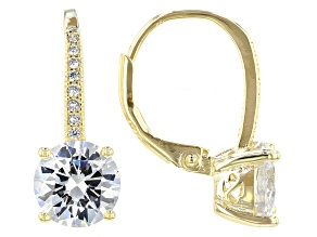 Cubic Zirconia 18k Yellow Gold Over Silver Earrings 5.80ctw