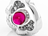 Red And White Cubic Zirconia Rhodium Over Silver Ring 4.65ctw