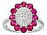 Red And White Cubic Zirconia Rhodium Over Silver Ring 1.99ctw