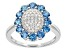 Blue And White Cubic Zirconia Rhodium Over Silver Ring 1.99ctw