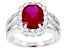 Red And White Cubic Zirconia Rhodium Over Sterling Silver Ring 4.83ctw