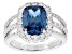 Blue And White Cubic Zirconia Rhodium Over Sterling Silver Ring 4.83ctw
