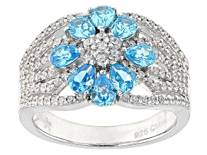 Blue And White Cubic Zirconia Rhodium Over Silver Ring 2.75ctw