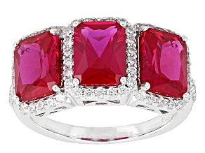 Red And White Cubic Zirconia Rhodium Over Silver Ring 5.35ctw