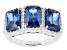Blue And White Cubic Zirconia Rhodium Over Sterling Silver Ring 5.35ctw