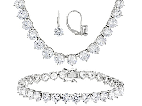 Cubic Zirconia Silver Bracelet Earrings And Necklace Set 102 30ctw