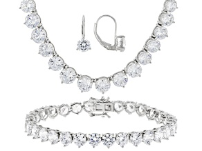 Cubic Zirconia Silver Bracelet, Earrings And Necklace Set 102.30ctw
