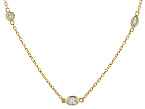 Cubic Zirconia 18k Yellow Gold Over Silver Necklace 8.08ctw