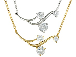 Cubic Zirconia 18k Yellow Gold Over Silver And Silver Necklace Set Of 2 4.66ctw