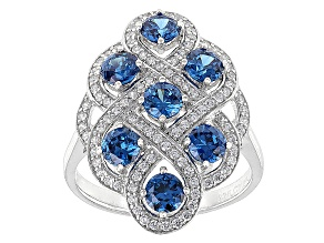 Blue And White Cubic Zirconia Rhodium Over Silver Ring 2.90ctw
