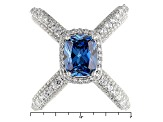 Blue And White Cubic Zirconia Rhodium Over Silver Ring 5.95ctw