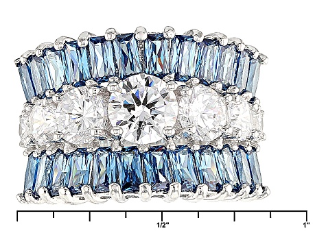 Blue And White Cubic Zirconia Rhodium Over Silver Ring 7.15ctw