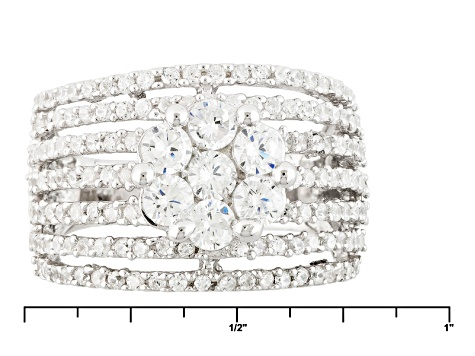 White Cubic Zirconia Rhodium Over Silver Ring 1.97ctw