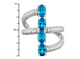 Blue And White Cubic Zirconia Rhodium Over Silver Ring 4.12ctw