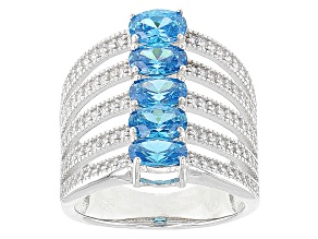 Blue And White Cubic Zirconia Rhodium Over Silver Ring 4.20ctw