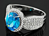 Blue And White Cubic Zirconia Rhodium Over Silver Ring 5.30ctw
