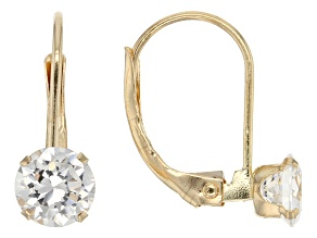 White Cubic Zirconia 14kt Yg Earrings 1.58ctw