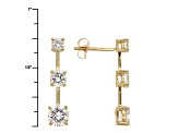 White Cubic Zirconia 14kt Yellow Gold Earrings 2.80ctw