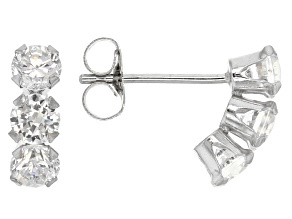 White Cubic Zirconia 10k White Gold Earrings 1.08ctw